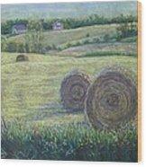 Haybales Durham County Wood Print by Ruth Greenlaw