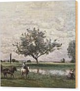 Haycart Beside A River  Wood Print
