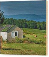Hayfield And Lake II Wood Print