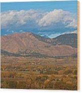 Haystack Autumn View Wood Print