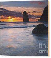 Haystack Sunset Wood Print
