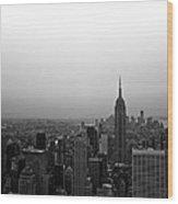 Hazy City Of New York Wood Print