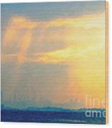 Hazy Light Over San Francisco Wood Print by Wingsdomain Art and Photography
