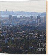 Hazy San Francisco Skyline Viewed Through The Oakland Skyline . 7d11341 Wood Print