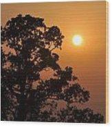 Hazy Sunset Wood Print