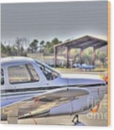 Hdr Airplane Looks Plane From Afar Under Canopy Wood Print