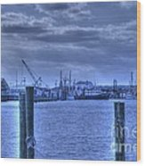 Hdr Fishing Boat Across The Jetty Wood Print by Pictures HDR
