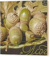 Hdr Green Acorns In A Dish Wood Print