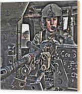 Hdr Image Of A Uh-60 Black Hawk Door Wood Print