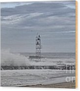 Hdr Light Tower Waves Splashing Beach Beaches Sea Oceanview Photos Pictures Photograph Photo Picture Wood Print