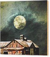 Hdr Moon And Barn Wood Print