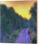 Hdr- Railroad Tracks Wood Print
