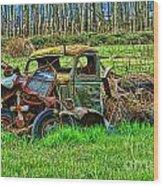 Hdr Wreck Wood Print