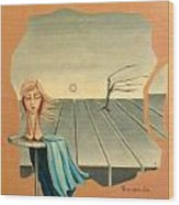 Head In Wind Surrealistic Frame Boards Tree And Hair Waving In Wind Beige Blue Grey Wood Print