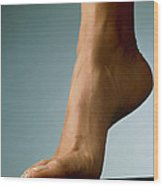 Healthy Foot Of A Woman, Raised Onto Its Toes Wood Print