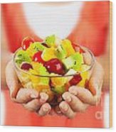 Healthy Fruit Salad Wood Print by Anna Om