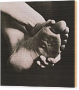 Healthy Sole Of The Foot Held By A Woman's Hand Wood Print
