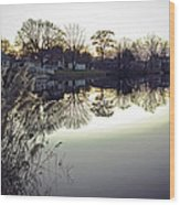 Hearns Pond Reflection Wood Print