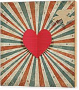 Heart And Cupid With Ray Background Wood Print