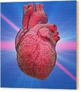 Heart And Lightbeams Wood Print