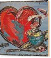 Heart Coffee Cup Wood Print