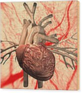 Heart, Computer Artwork Wood Print by Equinox Graphics