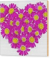 Heart From  Pink Daisies Wood Print