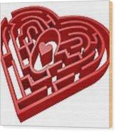 Heart Maze, Computer Artwork Wood Print