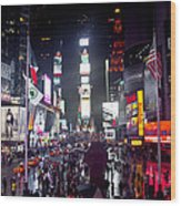 Heart Of Times Square Wood Print