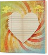 Heart Paper Retro Design Wood Print
