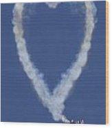 Heart Shape Smoke And Plane Wood Print