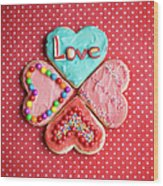 Heart Shaped Love Cookies Wood Print