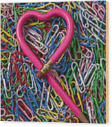 Heart Shaped Pink Pencil Wood Print