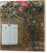 Heart Shutters And Red Roses Wood Print