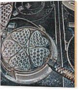 Heart Waffle Iron Wood Print