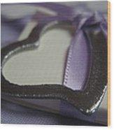 Heart With Purple Ribbon Wood Print