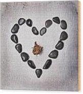 Heart With Rose Wood Print by Joana Kruse