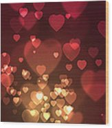 Hearts Background Wood Print
