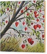 Hearts Grow On Trees Wood Print