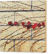 Hearts On The Wall Wood Print