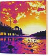 Heat Wave Sunset Wood Print