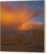 Heavy Clouds And Hay Bales Wood Print