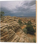 Heavy Clouds Over A Rocky Desert Wood Print