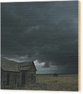 Heavy Dark Clouds Foretell A Possible Wood Print