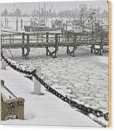 Heavy Snow Falls At Sandwich Marina In Sandwich On Cape Cod Wood Print