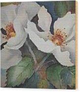 Hedge Roses Wood Print