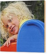 Helena On The Slide Wood Print