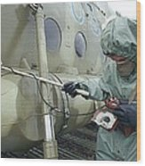 Helicopter Decontamination During Chernobyl Disast Wood Print