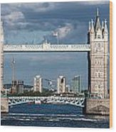 Helicopters And Tower Bridge Wood Print