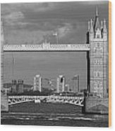 Helicopters Flying Through Tower Bridge Wood Print